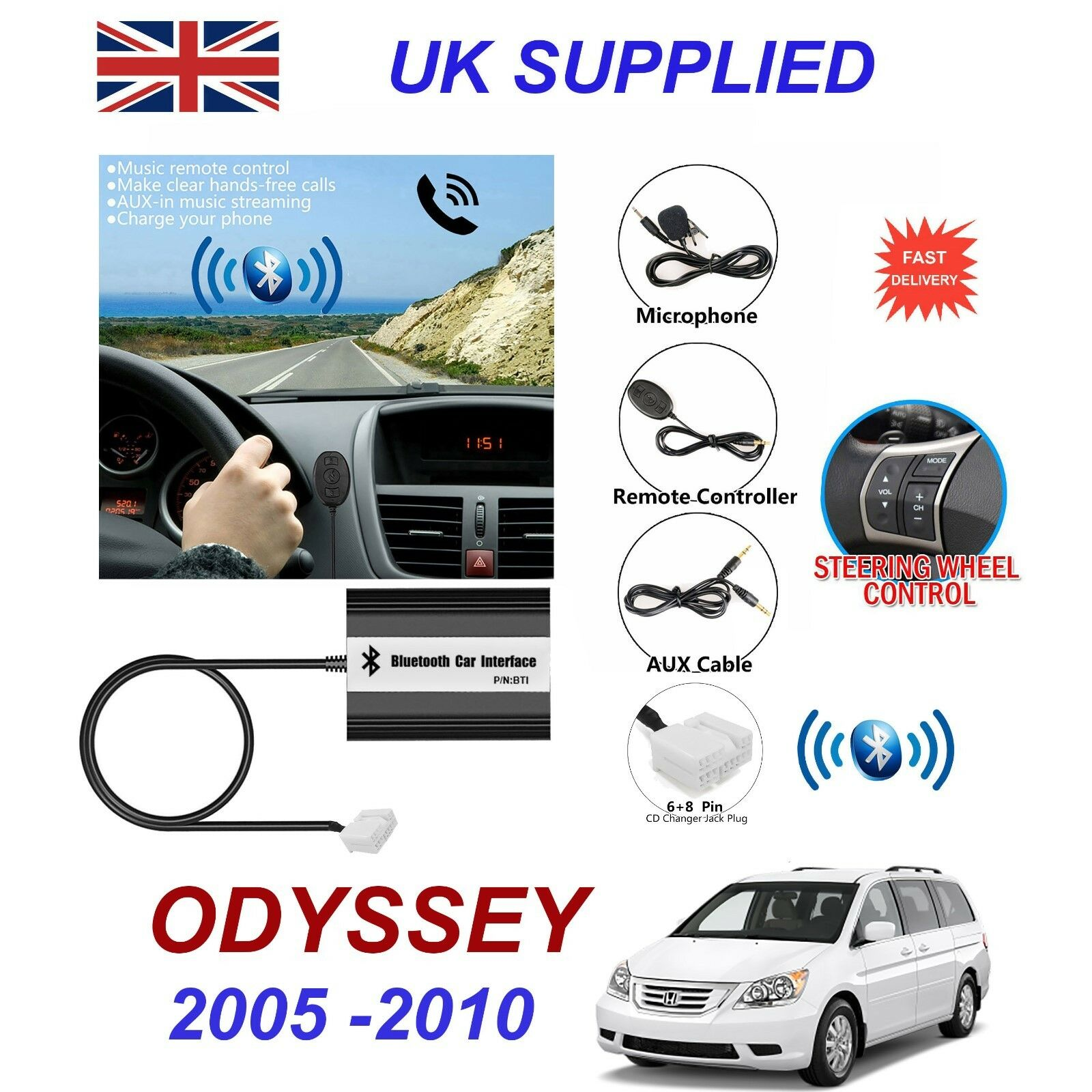 Honda Odyssey Bluetooth Hands Free Phone AUX Input MP3 USB 1A Charger Module