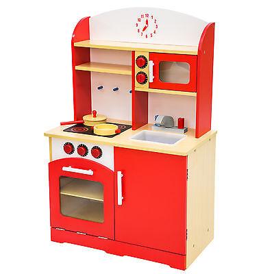 Kinderküche aus Holz Kinderspielküche Spielküche Spielzeugküche Kinder Küche Rot (Kinder Küche Spiel)