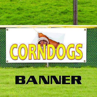 Corn Dogs Steak Restaurant Food Stand Bar Retail Advertising Vinyl Banner Sign