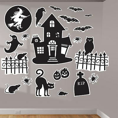 Halloween Family Friendly Wall Art Vinyl Decal Decorative Stickers Silhouette - Family Friendly Halloween