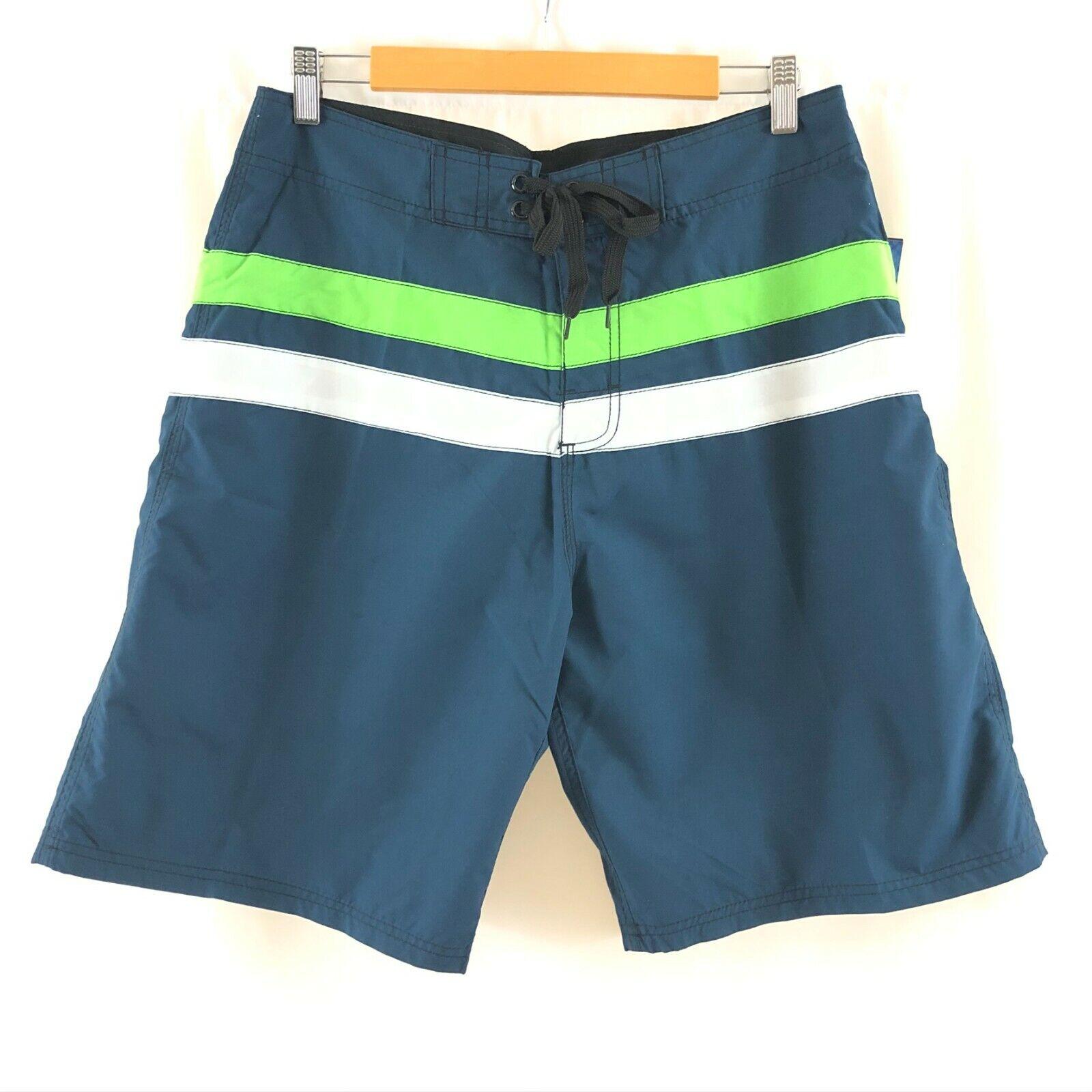 Kanu Surf Mens Board Shorts Striped Lace Up UPF 50+ Navy Blu