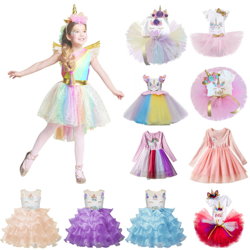 Kids Girls Unicorn Dress Tutu Floral Princess Cosplay Costum