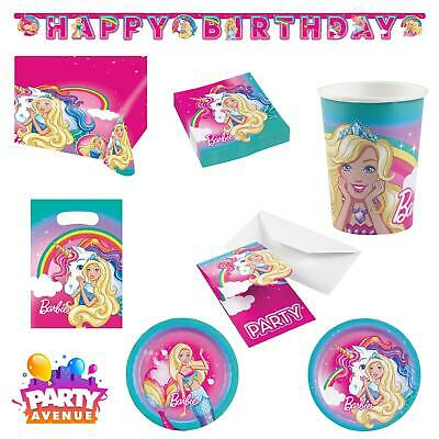 Barbie Party Plates (Barbie Dreamtopia Birthday Party Girls Plates Cups Supplies Banner Table)