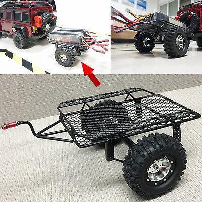 KYX Rock Crawler 1/10 Axial SCX10 D90 RC Car Metal Small Trailer + 2pc 90MM Tire