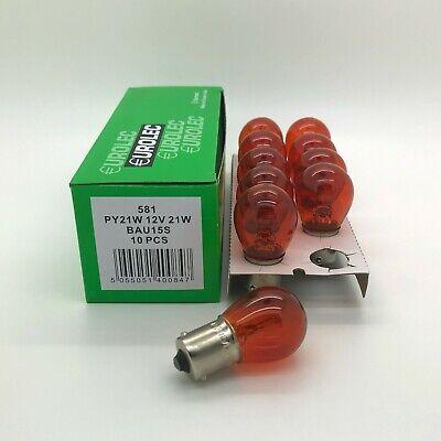 Car Parts - 10 x EUROLEC 581 AMBER ORANGE INDICATOR CAR BULBS 12V 21W BAU15S OFF SET PINS