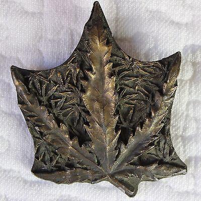 Marijuana Belt Buckle Leaf Vintage 1970s Capt. Hawks CUT-OUT Pot Brass Color