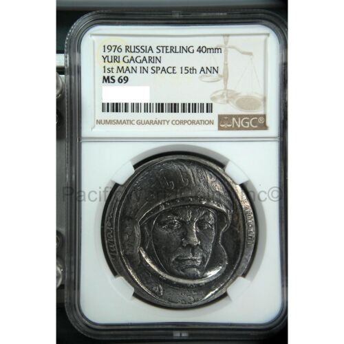 Russia 1976 Sterling Yuri Gagarin 1st Man in Space 15th Ann Silver NGC MS69