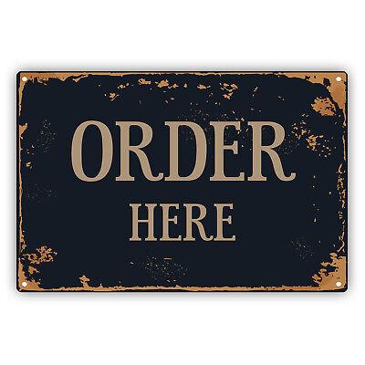 Order Here Rustic Vintage Kitchen Bar Pub Coffee Shop Wall Aluminum Metal Sign