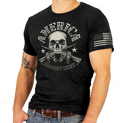 Hot Leathers 2Nd Amendment Military America Support Crew Skull T Shirt Mens