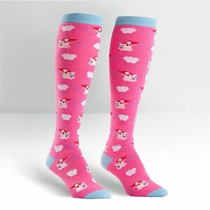 Pigs ~ Super Pigs flying on Women's Pink Knee High Socks by Sock It To Me