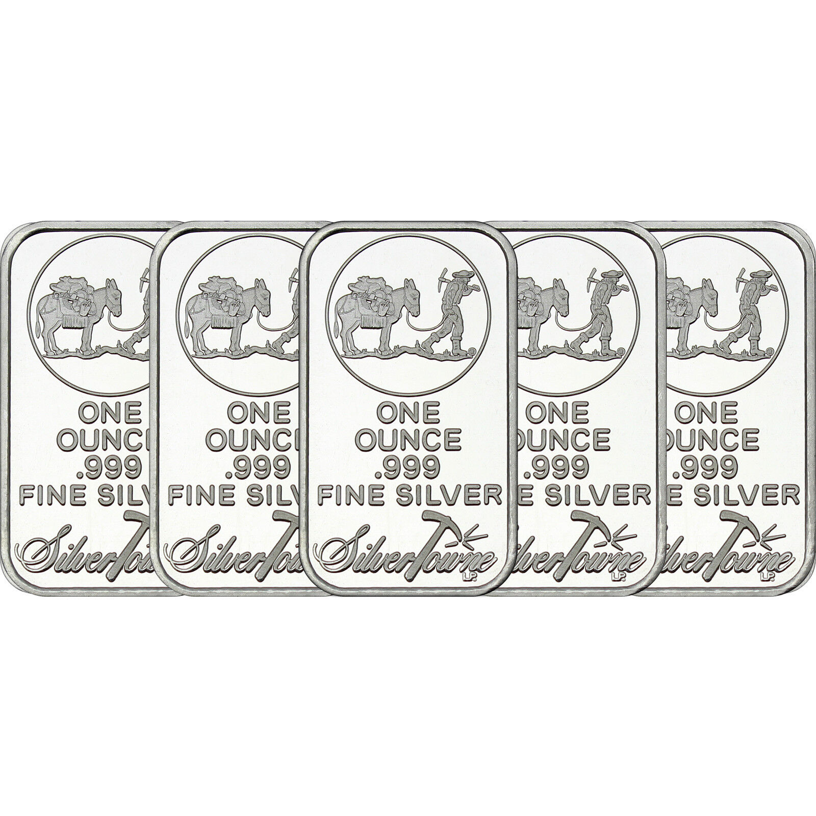 SilverTowne Logo 1 oz .999 Fine Silver Bar LOT OF 5