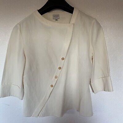 Armani Collezioni Women's 3/4 Sleeve Button/Snap Down Cream Blouse Size 42