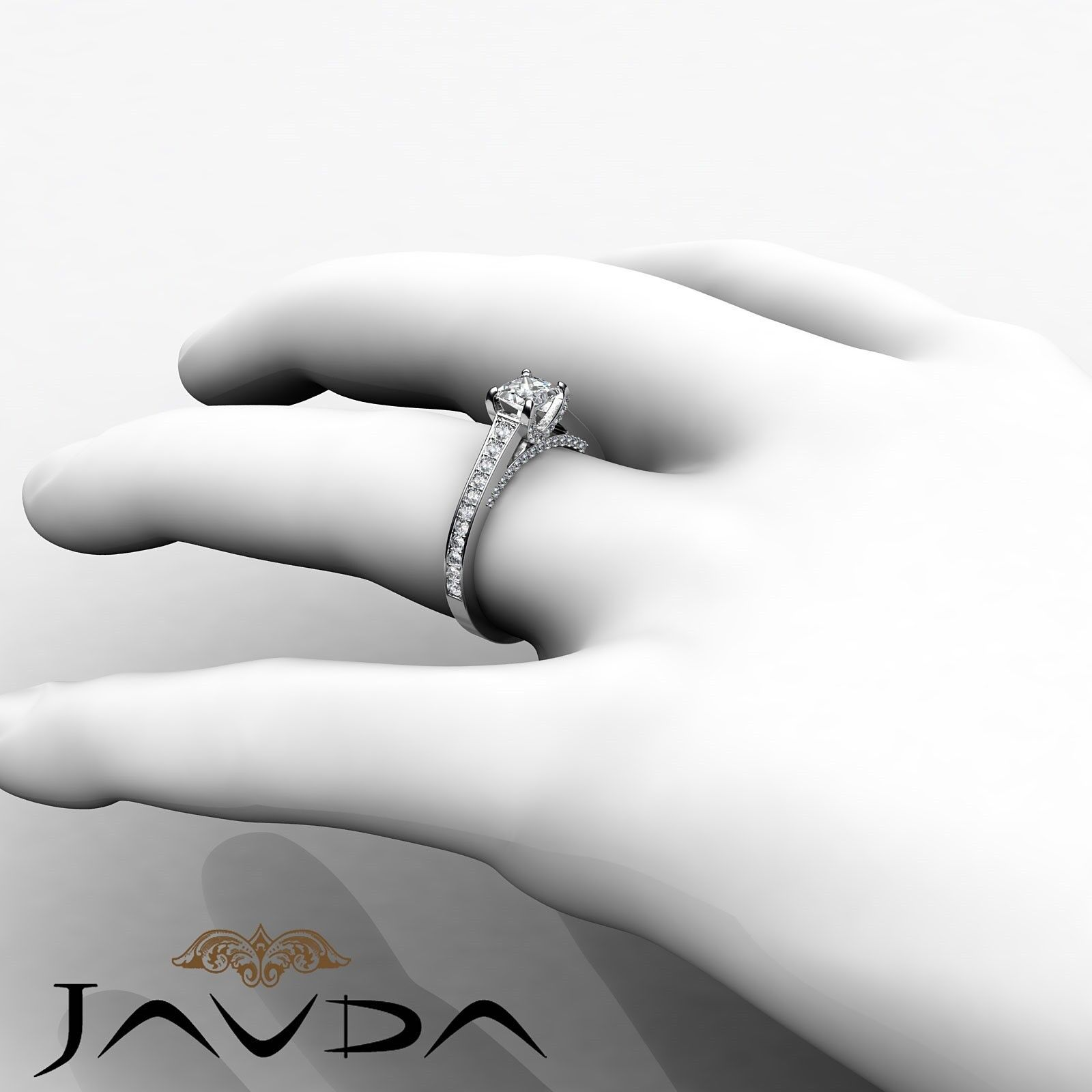 1.46ctw Tapered Pave Princess Diamond Engagement Ring GIA G-VS2 White Gold Rings 3