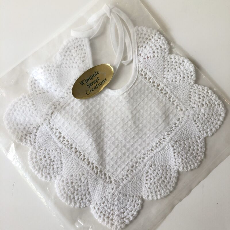 New Vtg Handmade Baby Bib White Crochet Edge Crocheted Wimpole Street Creations