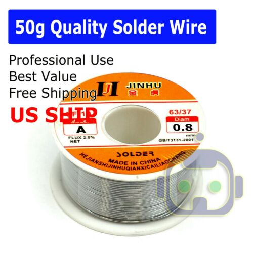 "50G 60-40 Tin Lead Rosin Core Solder Wire Soldering Sn60 Pb40 Flux .039""/0.8mm"