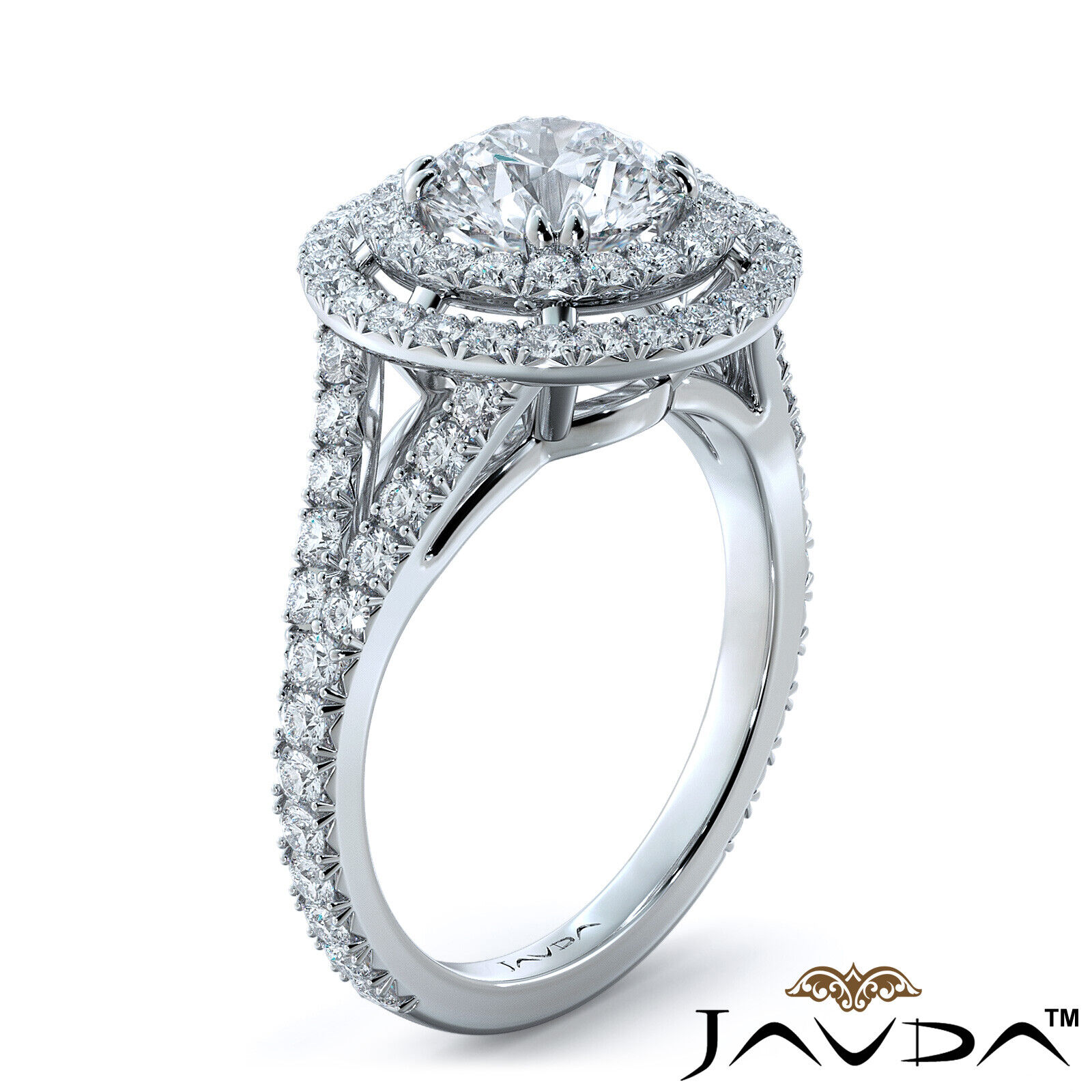 2.05ct French Pave Gala Halo Round Diamond Engagement Ring GIA F-VVS1 White Gold 1