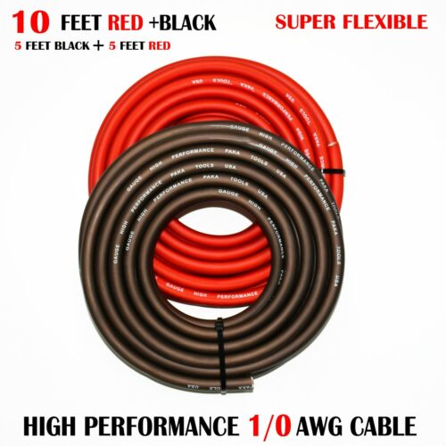 1/0 Gauge Wire RED/BLACK , Amplifier Power/Ground  Amp Wire 10 Feet Cable Roll
