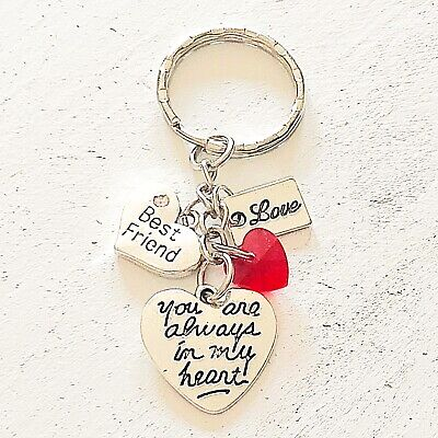 Best Friend Keychains (Best Friend Gift Of Love You Are Always In My Heart Silver Charm)