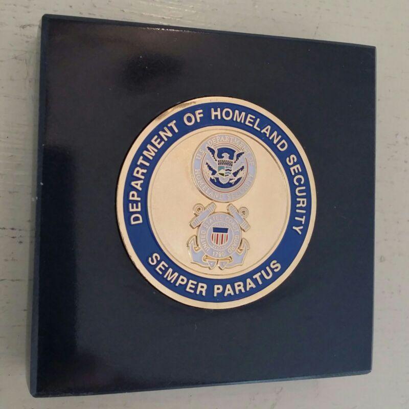"DHS USCG Coast Guard 3D Emblem Black Marble Paperweight 3"" x 3"" Desk Ornament"