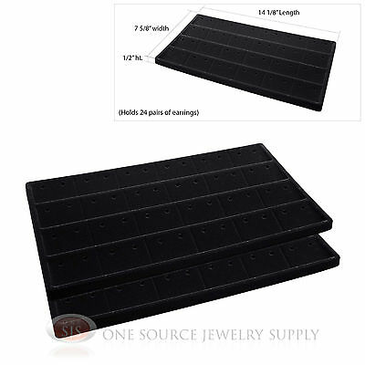 2 Insert Tray Liners Black For 24 Earrings Organizer Jewelry Display