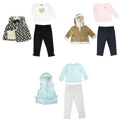 Little Me 3 Piece Set for Girls - Coat or Vest, Long Sleeve Shirt, Leggings
