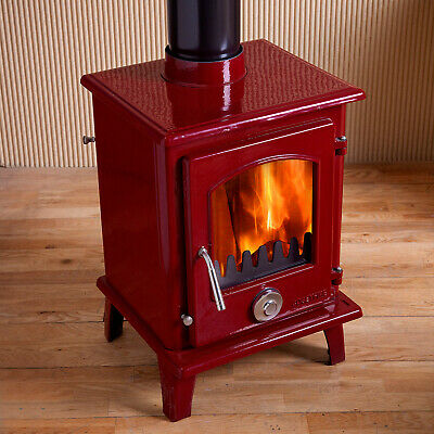 Defra Approved 5kw Coseyfire Petit Enamel Multi-Fuel Woodburning Stove Wine Red