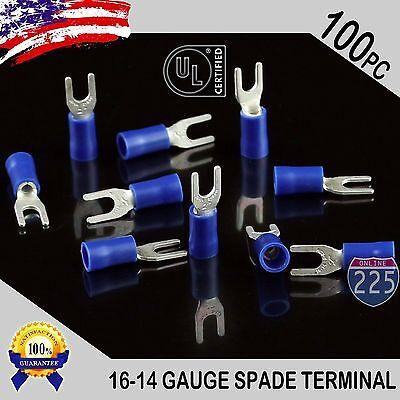 100 Pack 16-14 Gauge Vinyl Spade Fork Crimp Terminals 8 Stud Tin Copper Core Ul