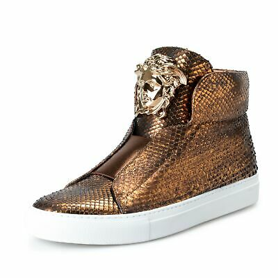 Versace Men's Python Skin High Top Slip On Fashion Sneakers Shoes US 7 IT 40