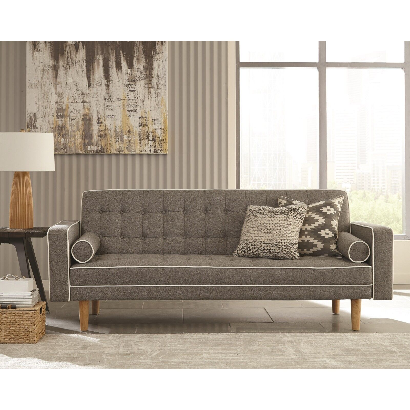 PERFECT FOR DORM ROOM GRAY TUFTED WOVEN SOFA BED FUTON LIVIN