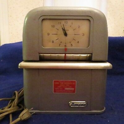 Vintage Amano Corp Time Clock Recorder Sales Service In Connecticut Model Jr 8