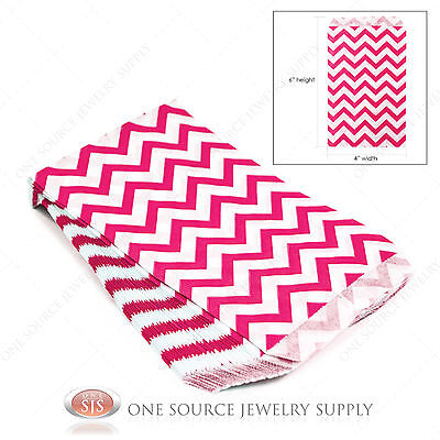 100 Pink Chevron Print Paper Bags Gift Bags Merchandise Bags 4 X 6