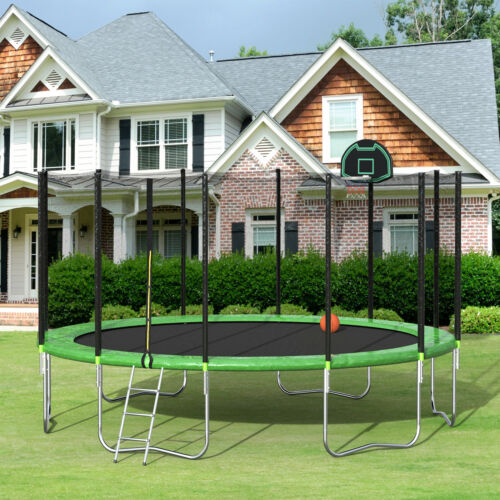 bounce trampoline with safety enclosure net ladder