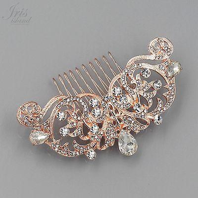 Bridal Hair Comb Crystal Headpiece Hair Clip Wedding Accessory 05324 ROSE GOLD