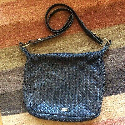 HIDESIGN Women's Basket Weave Brown Leather Slouch Shoulder Bag