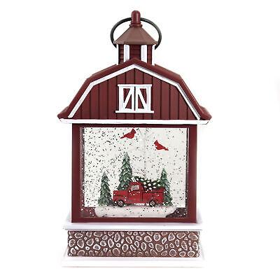 Christmas Swirl Barn With Truck Plastic Red Birds Tree 133307