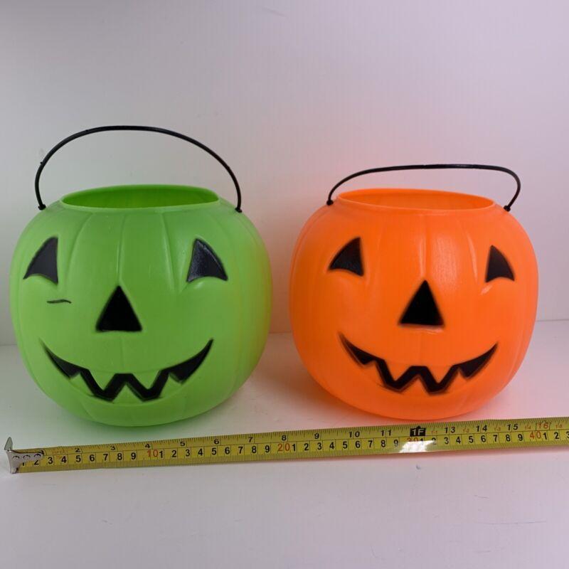2 Halloween Pumpkin Blow Mold Pails Buckets Vintage General Foam Norfolk VA USA