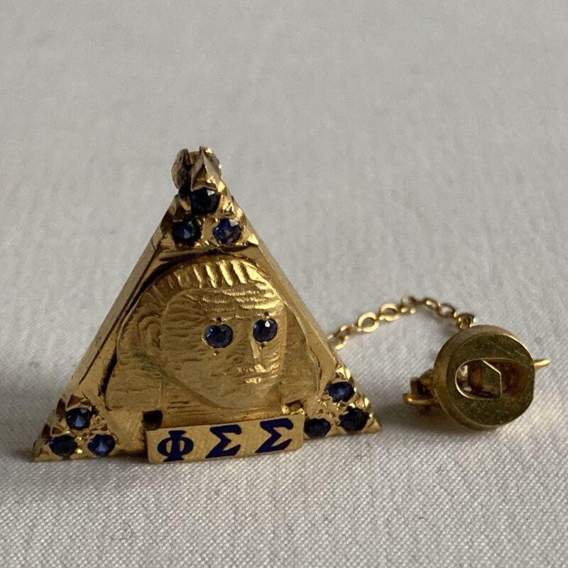 Vtg Phi Sigma Sigma Sorority Pin W Sphinx Enamel Sapphires