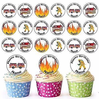 Cartoon Feuerwehrmann Mix 24 Personalisiert Vorgeschnitten Essbar Cupcake Topper