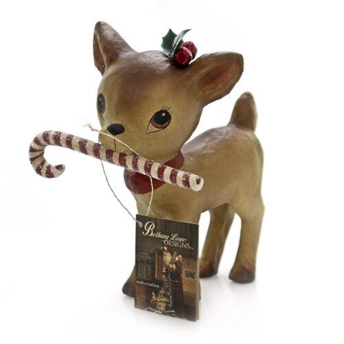 Bethany Lowe Paper Mache Reindeer Candy Cane Christmas Retro Vntg Decor Figurine