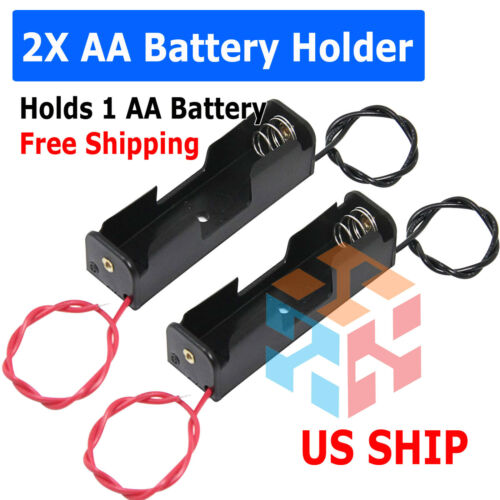 """Battery Holder Case Box with 6"""" Wire Leads for 1X AA Battery 1.5V US"""