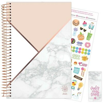 2021 Color Blocking Marble Calendar Year Daily Planner Agenda 12 Month Jan - Dec