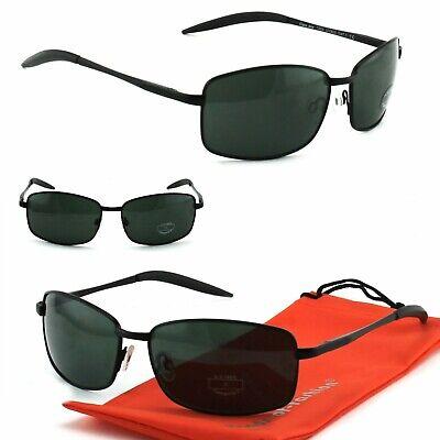 Coole sportliche Sonnenbrille Metallrahmen UV400 Herren Schwarz Grün getönt R8