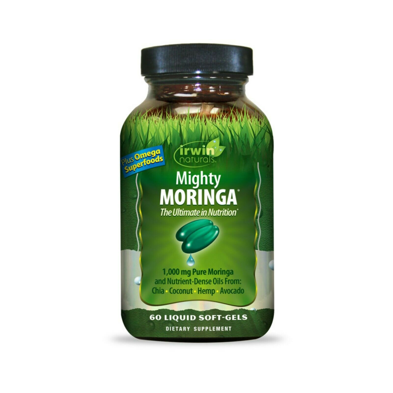 Irwin Naturals Mighty Moringa 1000mg with Omega Superfoods and Pill Case 1