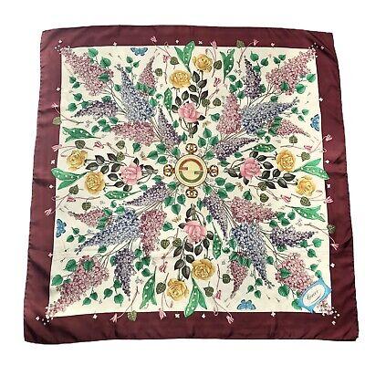 Vintage Gucci V.Accornero Square Silk Scarf Floral Multicolor Burgundy Authentic
