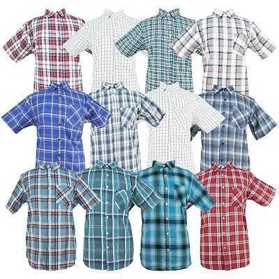 Mens Short Sleeve Oxford Shirt (Mens Short Sleeve Checked Striped Casual Summer Oxford Shirts Classic Collar)