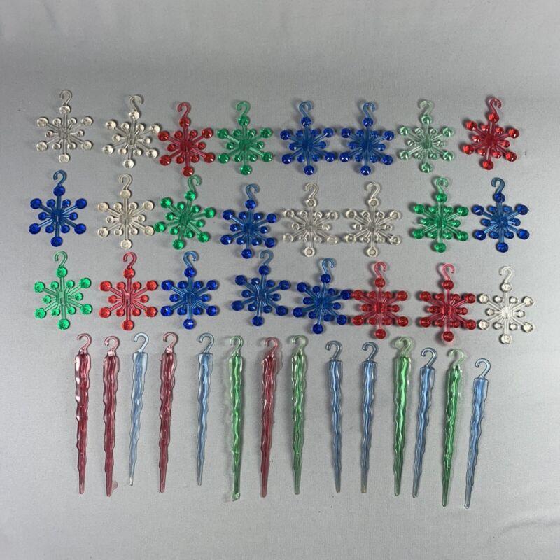 Vtg Plastic Snowflakes & Icicles Xmas Tree Ornaments