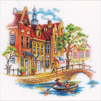 Cross Stitch Kit   Rto Touring Amsterdam Scenic City Street   Canal  M293