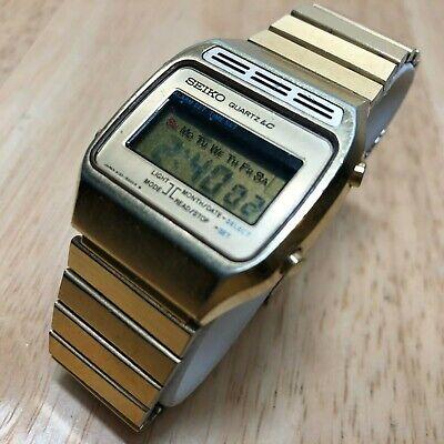 Vintage Seiko A133-5000 Mens Gold Tone Digital Quartz Watch Hours~Run w/ Issue
