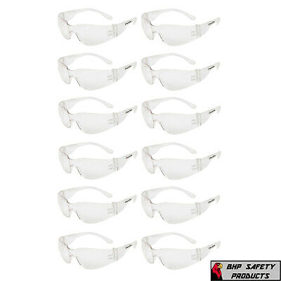 12 Pair Pack Protective Safety Glasses Clear Lens Work Uv Ansi Z87 Lot Of 12