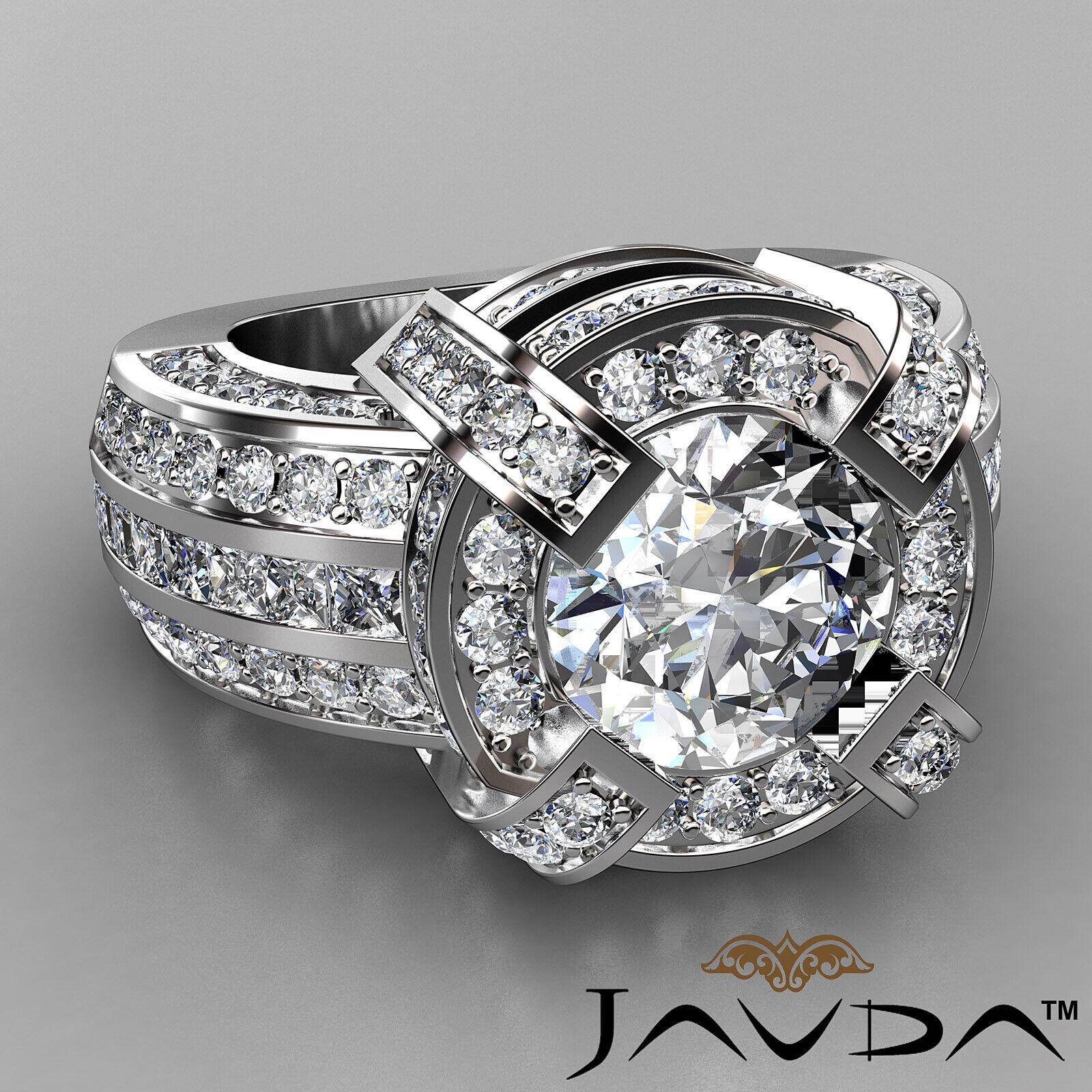 3.9ct Round Diamond Engagement Halo Pave Channel Set Ring GIA F VS2 Platinum 1
